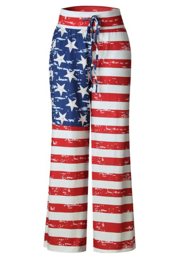 Gamiss Women's American Flag Drawstring With Tie Soft Wide Leg Pants Leggings