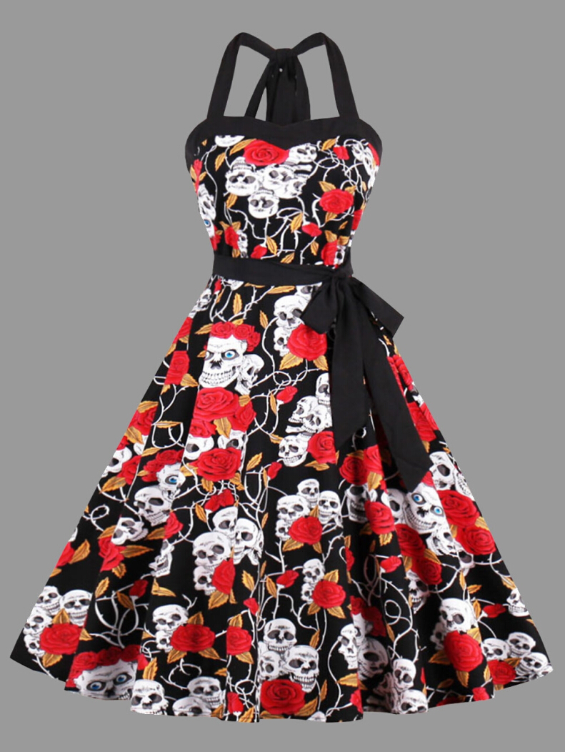 Floral Skull Print Halter Plus Size Vintage Dress