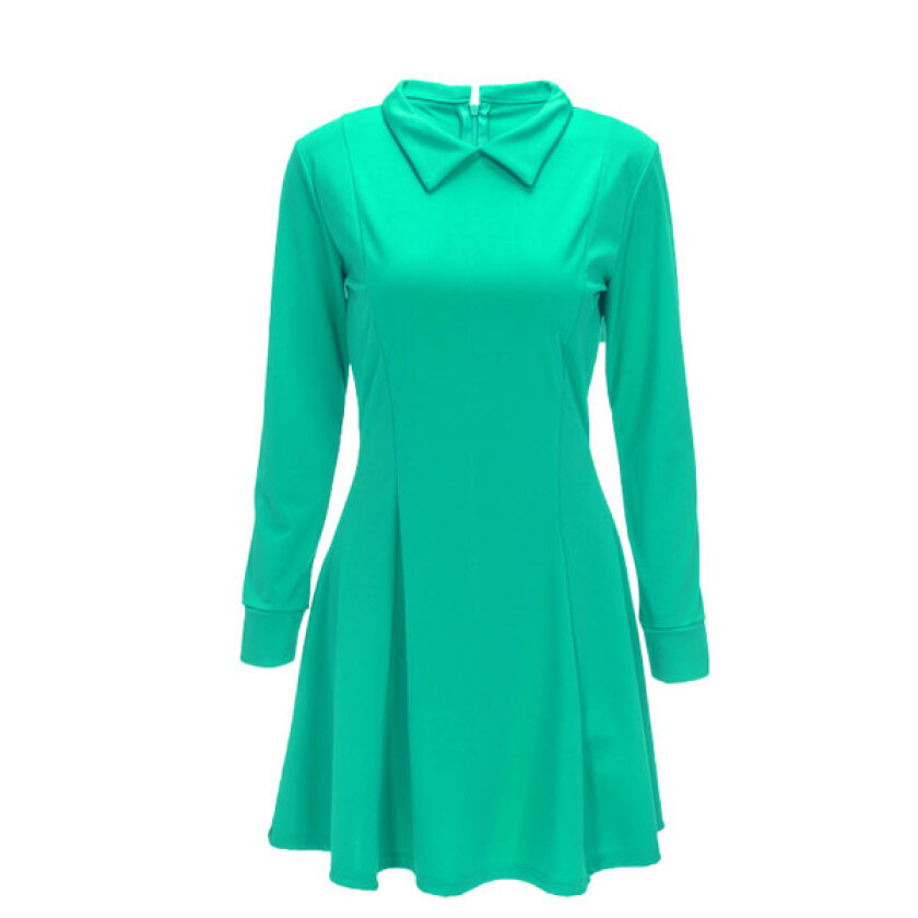 Women's Lovely Green Turn-down Collar Solid Above KneeMini Long Sleeve Pleated Dress