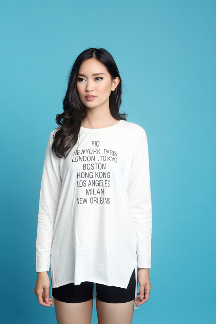 MOBILE POWER Ladies Long T-shirt Text Printing - White MPL255