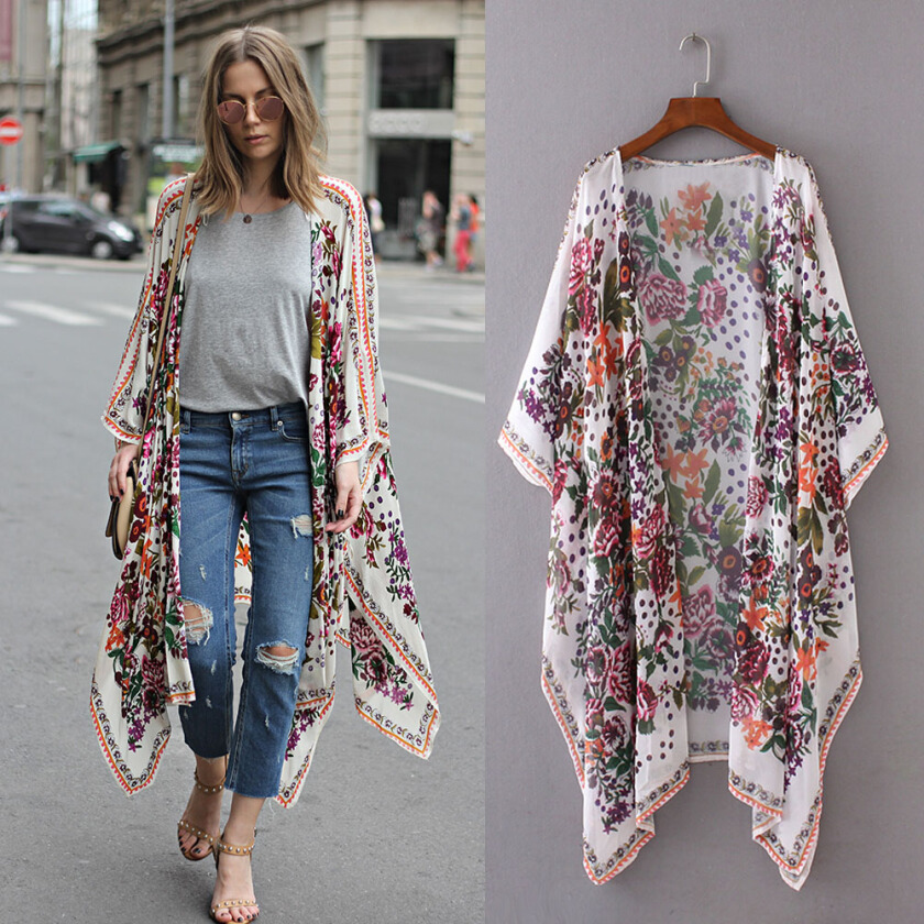 Women ladies Floral Print Kimono Chiffon Loose Shawl Cardigan Top Cover up Shirt Blouse