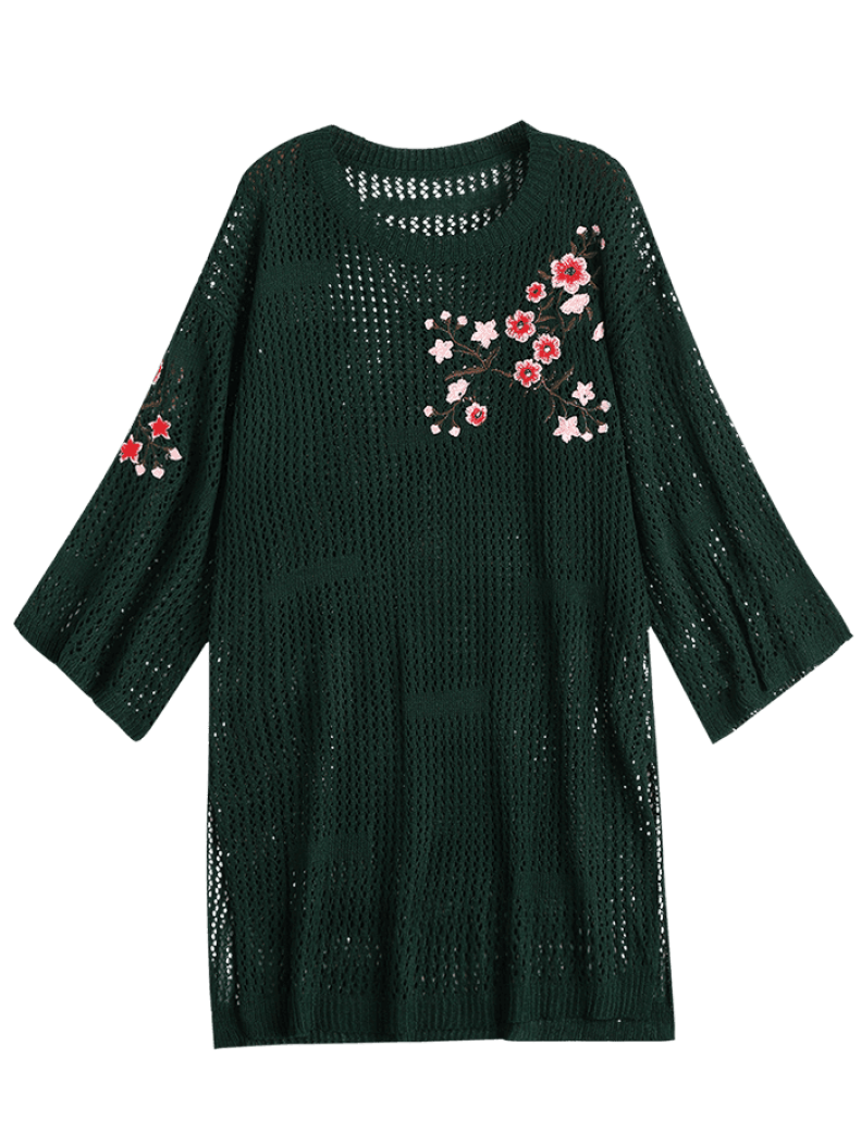 Floral Embroidered Sheer Sweater Dress ONE SIZE