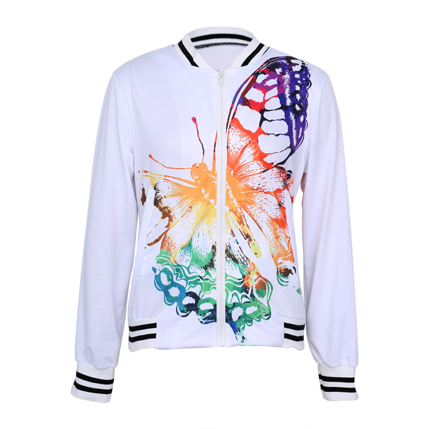 Gamiss Casual Women Butterfly Print Jacket New Autumn Winter Short Coats Long Sleeve Tops Slim Fit Baseball Varsity BomberJacket Coat Outwear