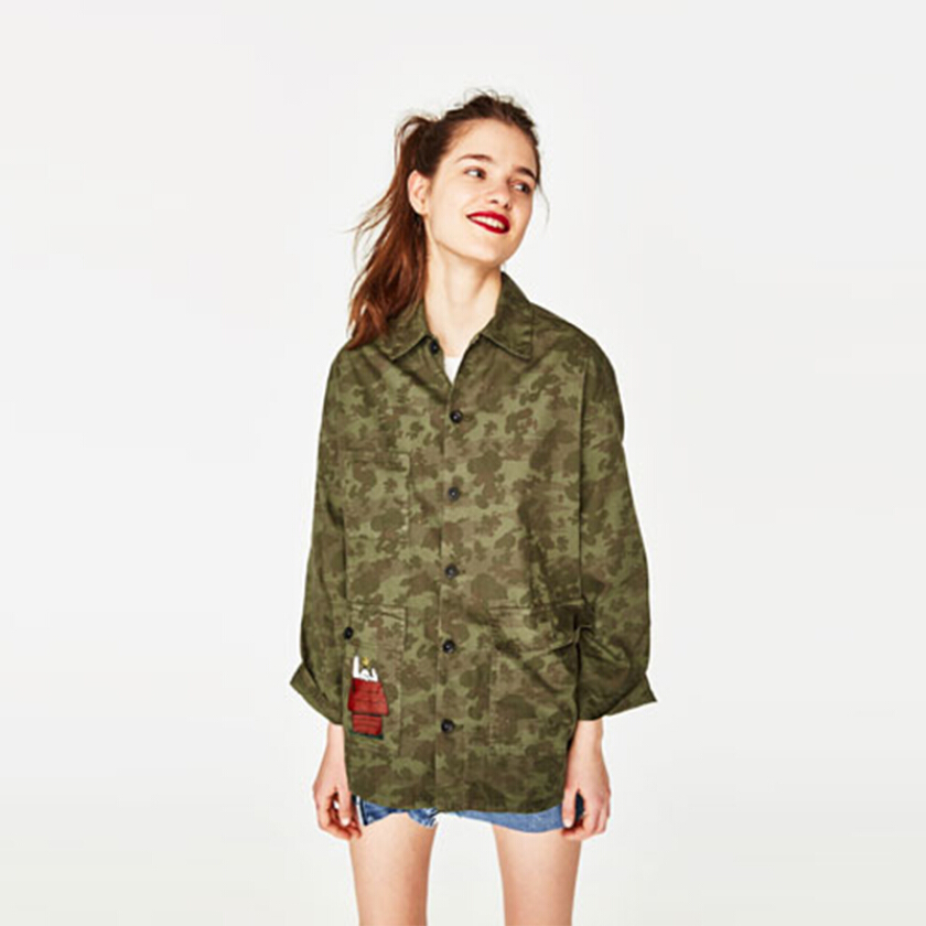 ZARA WOMAN Buttoned Overshirt with Print - Army Green [S]