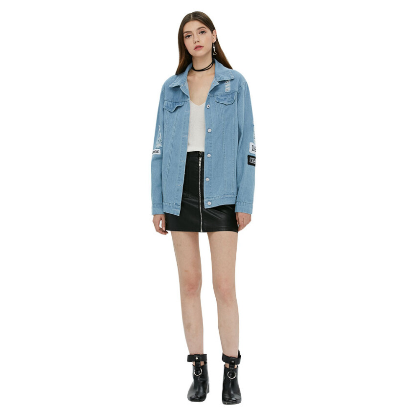 Letter printed washing denim coat new arrival turn down collar long sleeve eans light blue base jacket