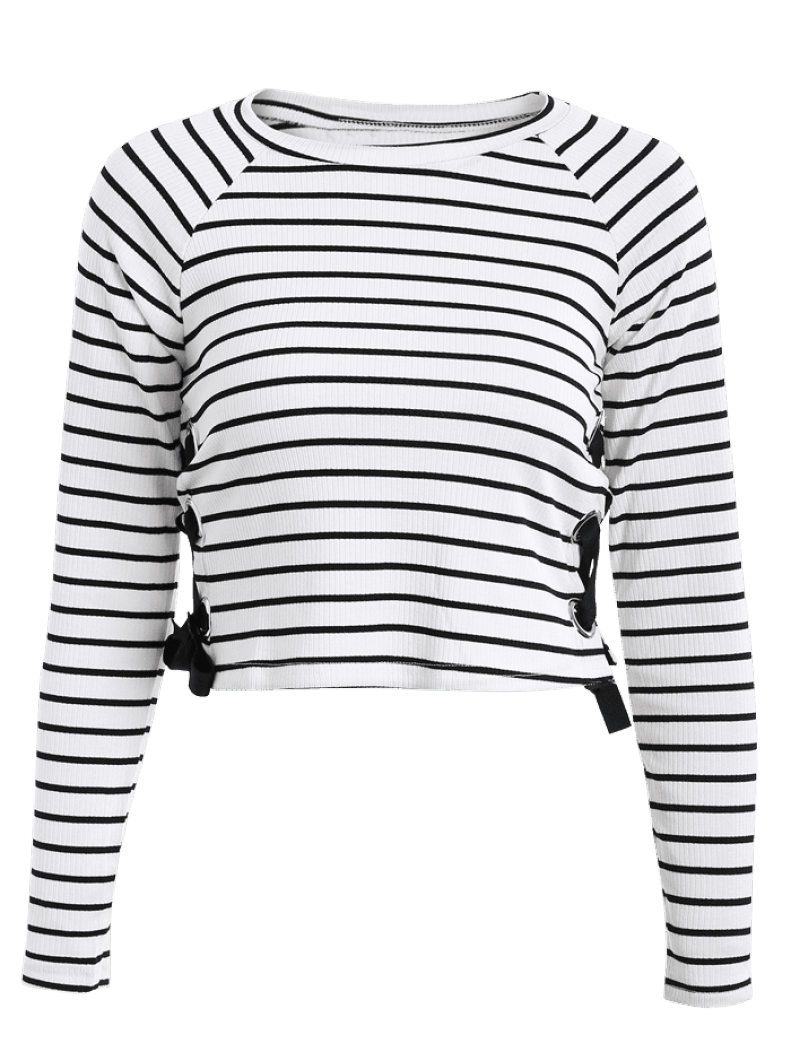 Striped Lace Up T-shirt