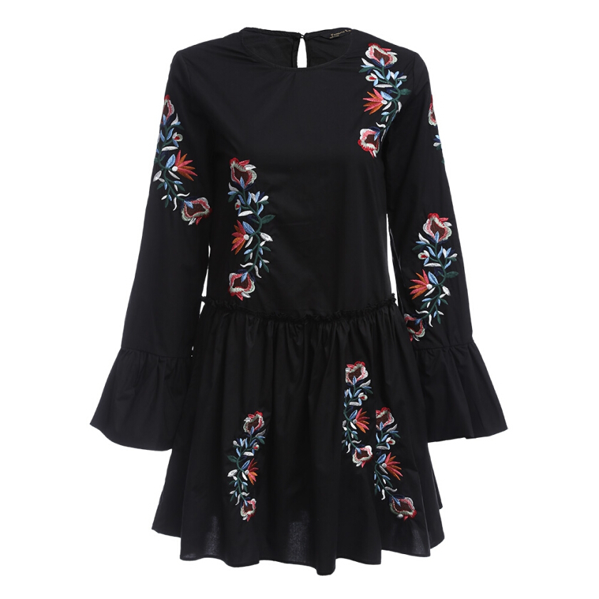 Vintage Long Trumpet Sleeve Round Collar Floral Embroidery Women Dress