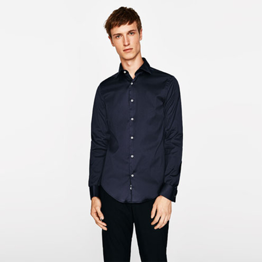 ZARA MAN Stretch Shirt - Navy [S]