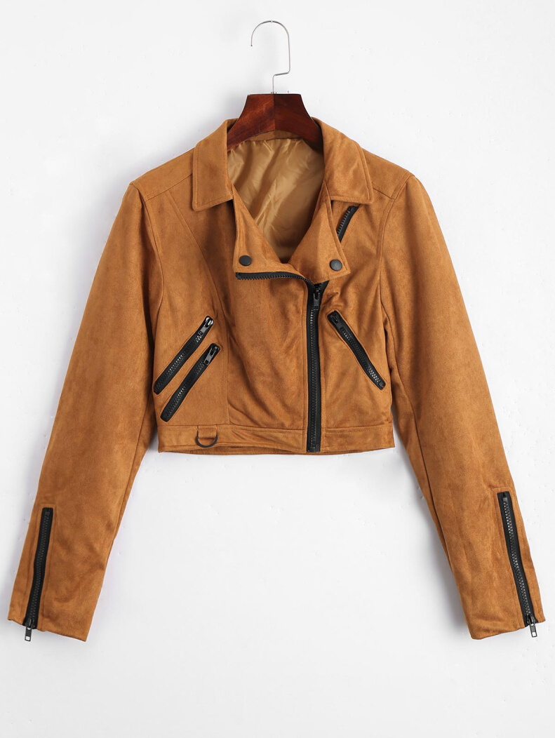 Zip Up Fuax Suede Cropped Jacket