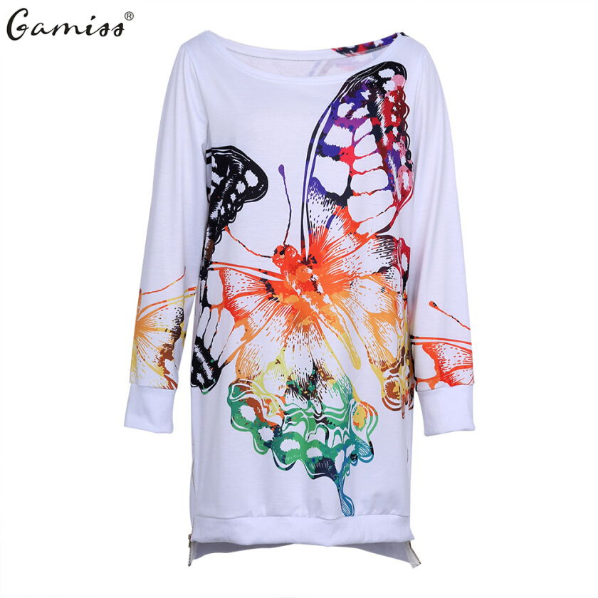 Gamiss Casual Women Fashion HoodiesAutumn Winter Skew Collar Butterfly Print  Casual Long Hoodies