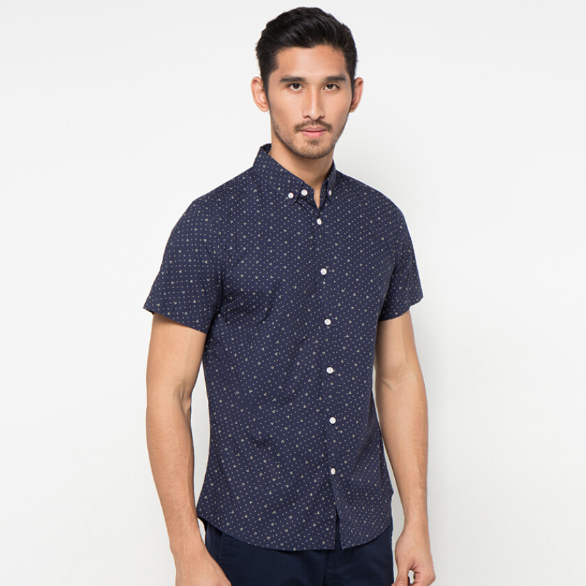 Minarno Anchor Dot S/S Shirt Qy - Navy [S]