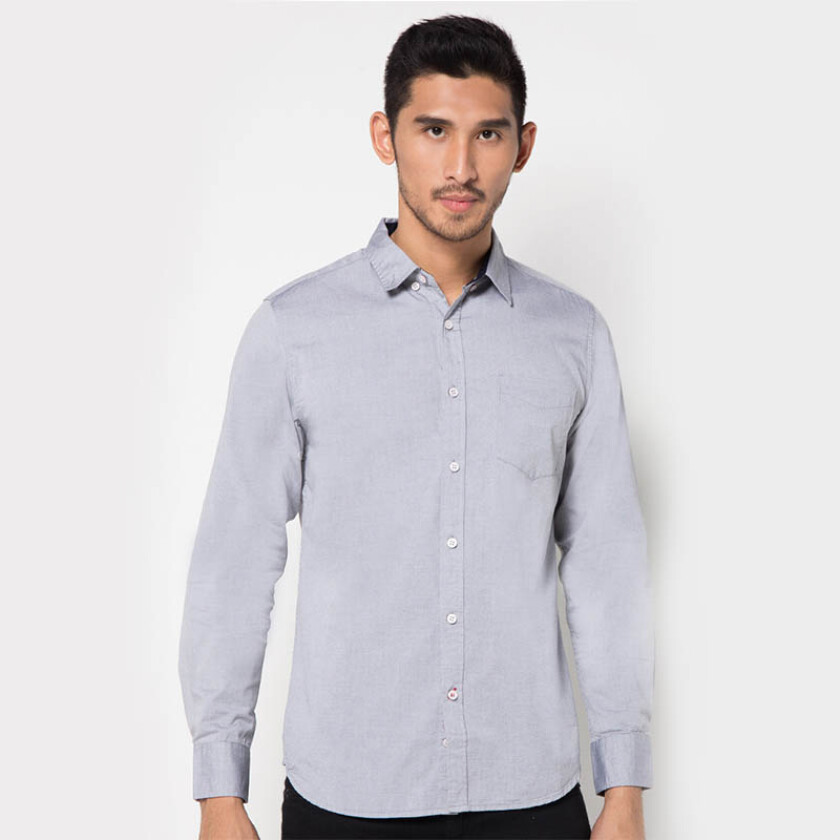 Minarno Grey Cotton L/S Shirt- Grey [L]