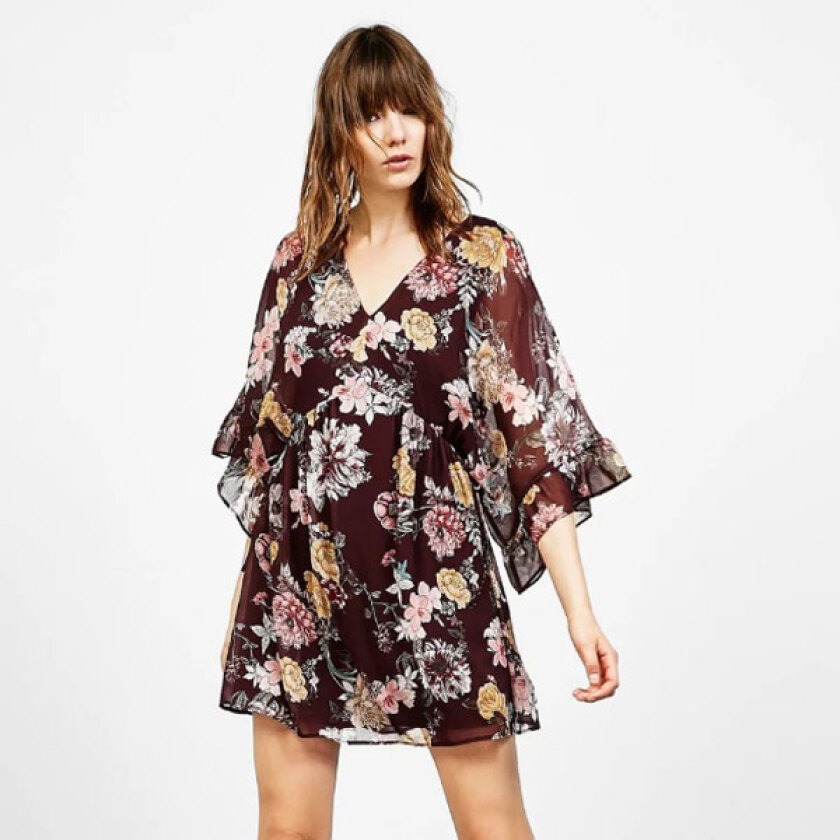 Women's Stylish V-Neck Print Above KneeMini Long Sleeve A-Line Dress