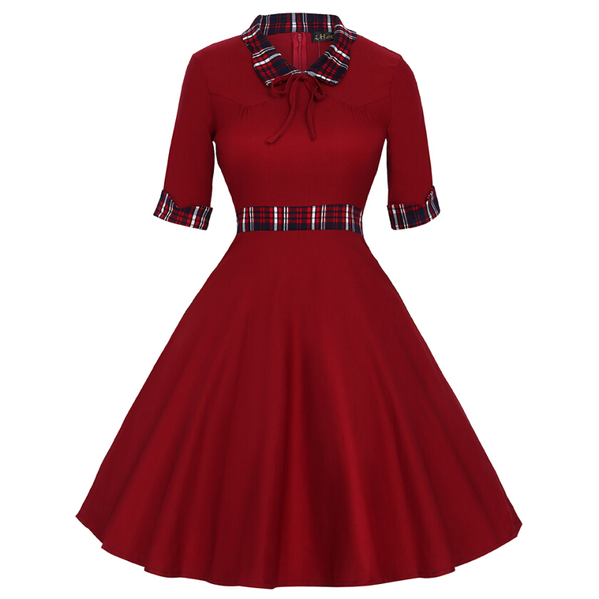 Woman Doll Collar Half Sleeve Plaid Patchwork Dress Fall Winter Vintage Swing Party Dress