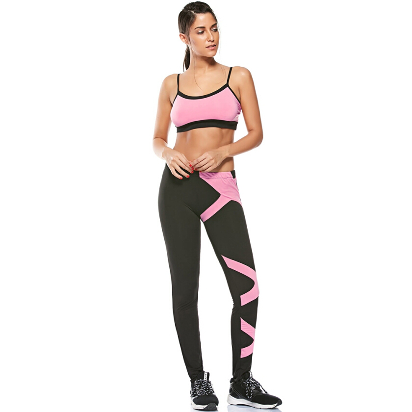 Padded Sports Bra and Two Tone Fitness Leggings