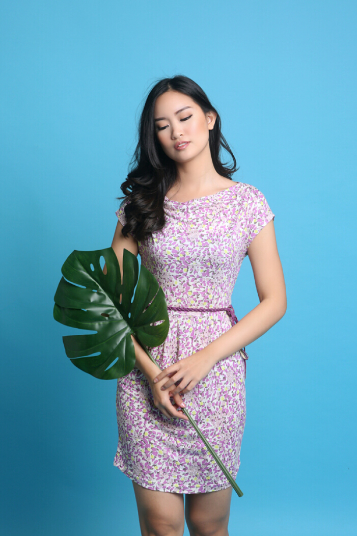 MOBILE POWER Ladies Floral Dress - Purple Z7069 [S/M]