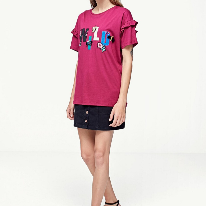 STRADIVARIUS T-Shirt with Jewel Appliques - Maroon [S]