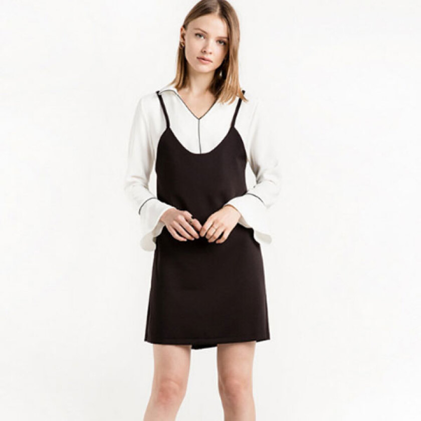 Women's Stylish Black V-Neck Patchwork Above KneeMini Long Sleeve A-Line Dress
