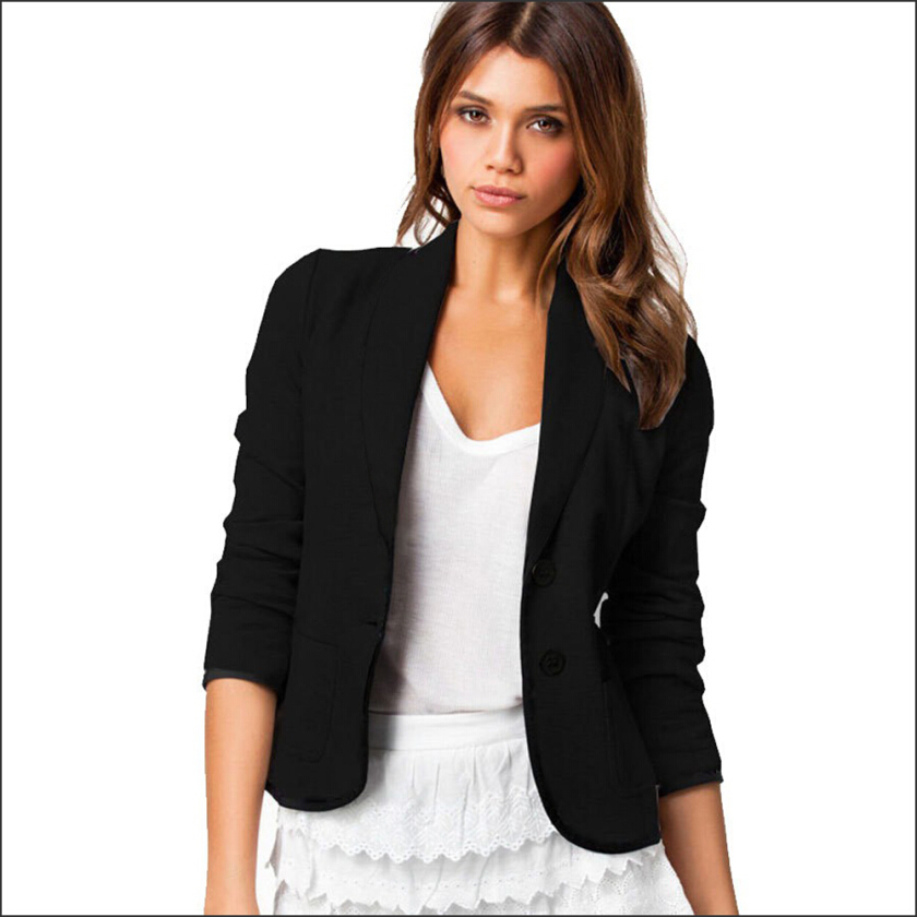 Work New Arrival Women Casual Tops OL Style Boyfriend Ponte Rolled Sleeves Short Blazer With Pockets