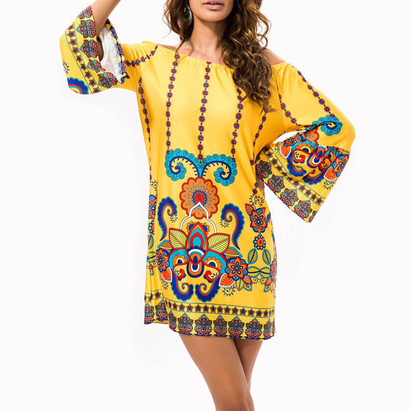 Off The Shoulder Cashew Nuts Mini Dress