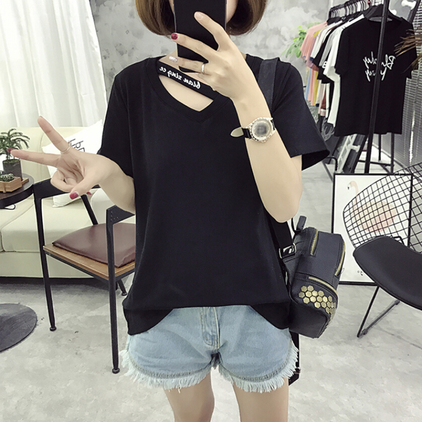 Women's dress of Korean style Cotton T-shirt New solid color blouse Hollow Bottoming shirt