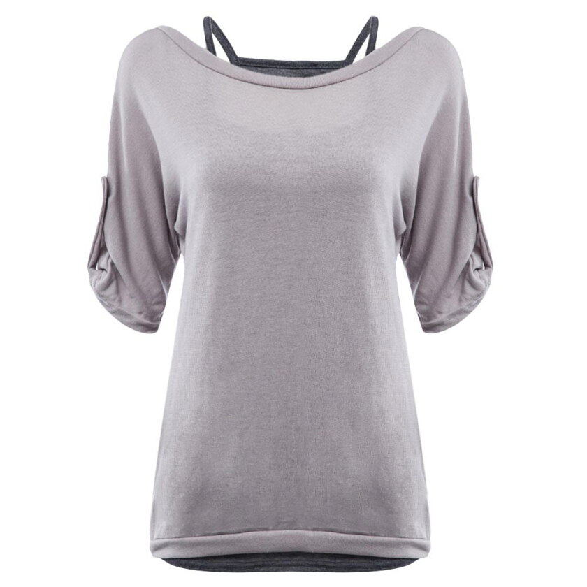 Casual Round Collar Bandage Hollow Out T-shirt Twinset for Women