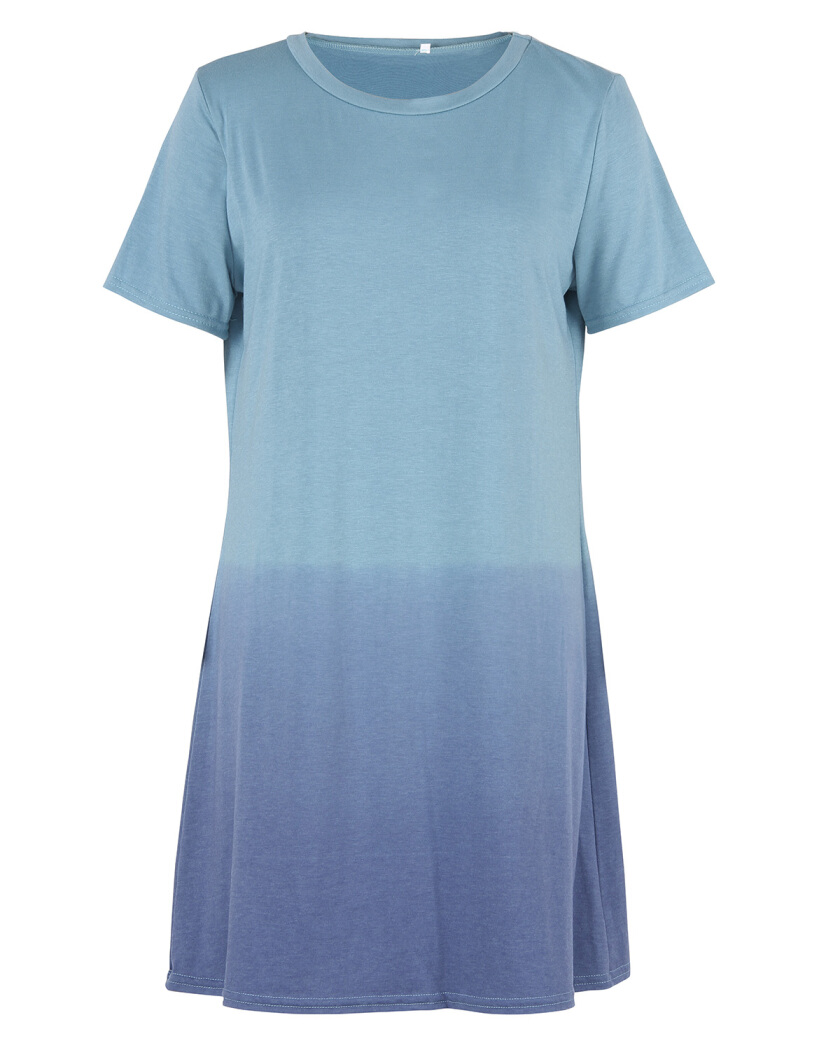 Gamiss Women's Tunic Swing T-Shirt Dress Short Sleeve Tie Dye Ombre Dress