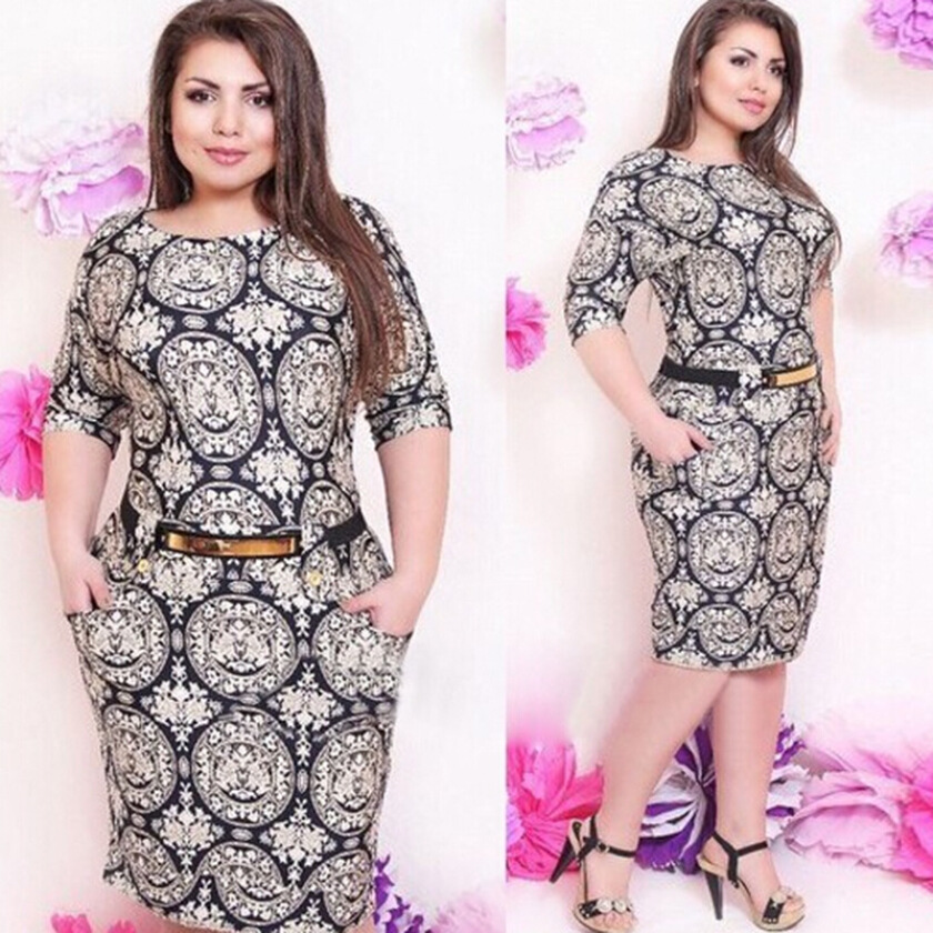 New Women Knee-length Ssleeve O-neck Sheath Patchwork Vestidos Plus Size Dress