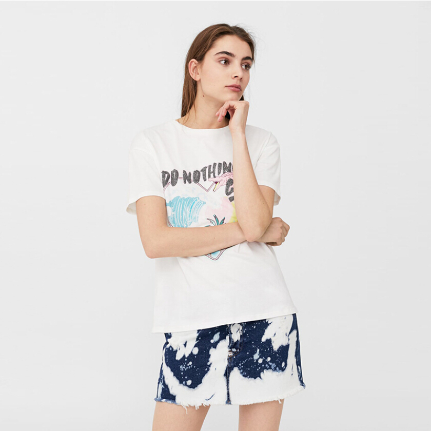 MANGO Printed Cotton T-shirt - White 2
