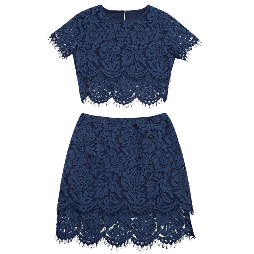 Scalloped Lace Top with Skirt Set