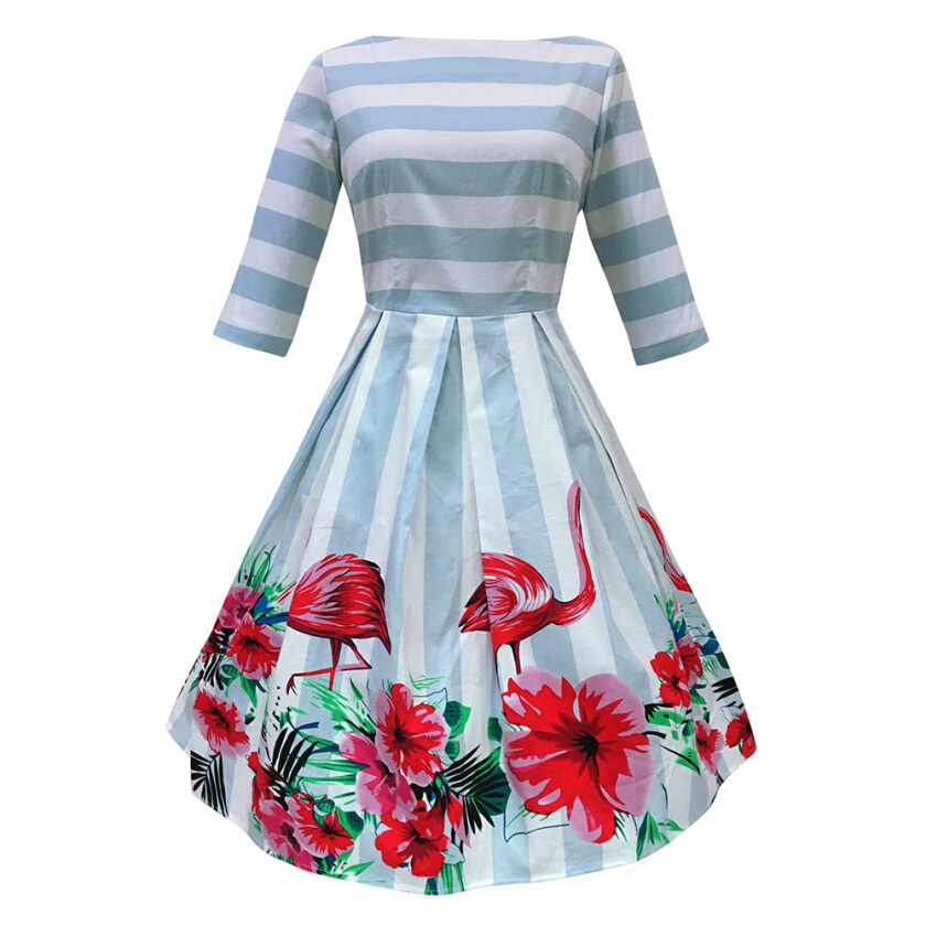 Zaful 50s Woman Party Dress boat neck three quarter sleeve Blue and White Stripe Dress vintage Plus Size Flamingo Print Swing Dress