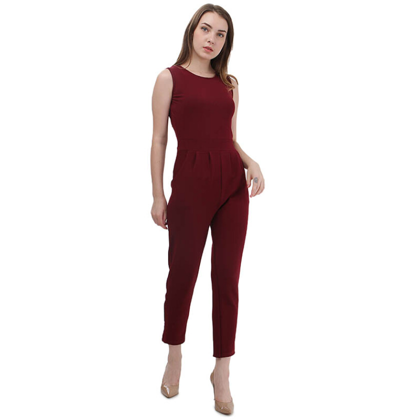 Shop At Banana Red Velvet Jumpsuit - Red [One Size]