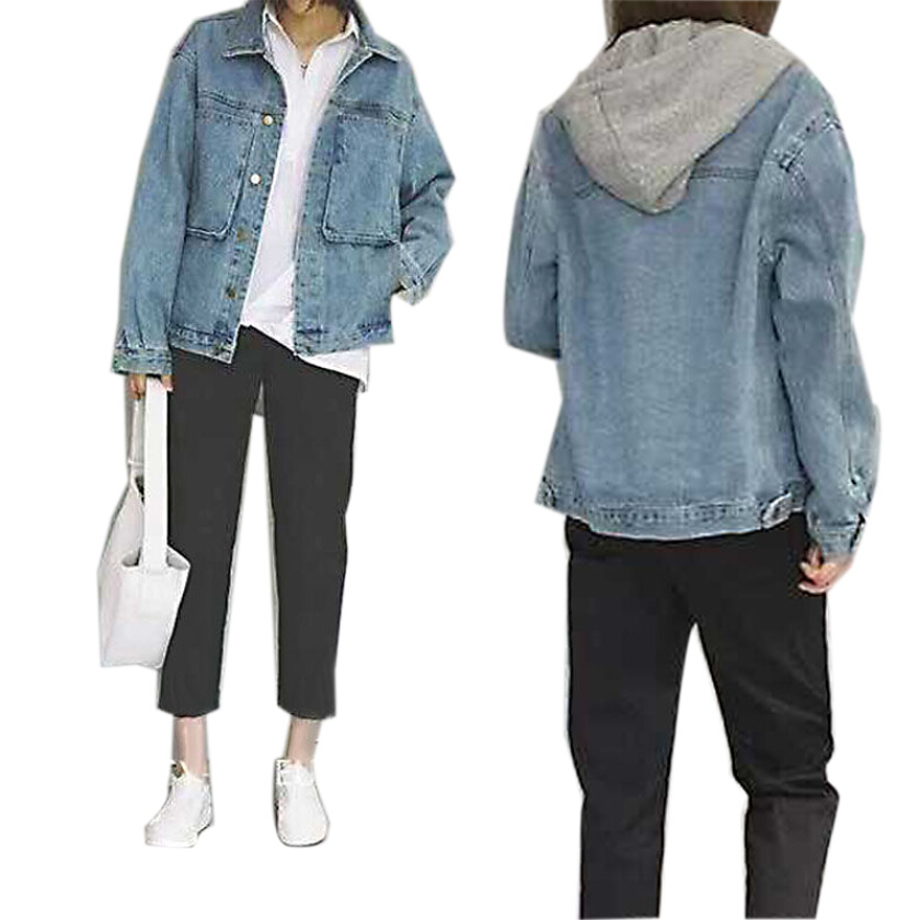 New loose retro street style long sleeve lapel big bag jean jacket