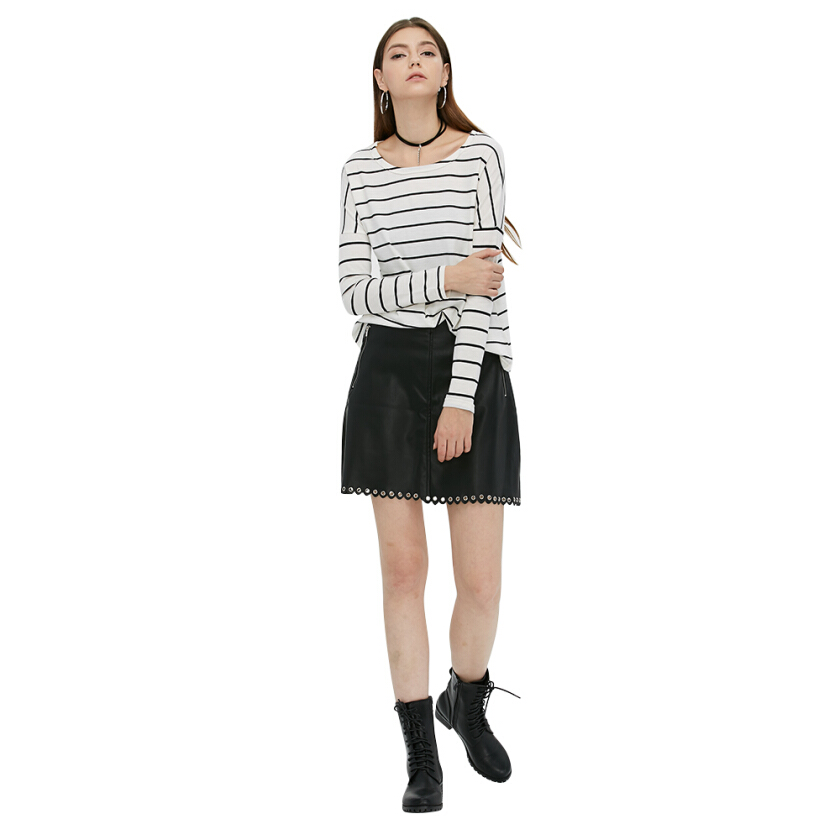 Women Elegant Style T-shirts Fashion Striped Print Round Neck Long Sleeve  T shirt