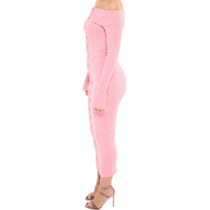Women's Party Pink Slash Neck Solid Knee-Length Long Sleeve Bodycon Dress
