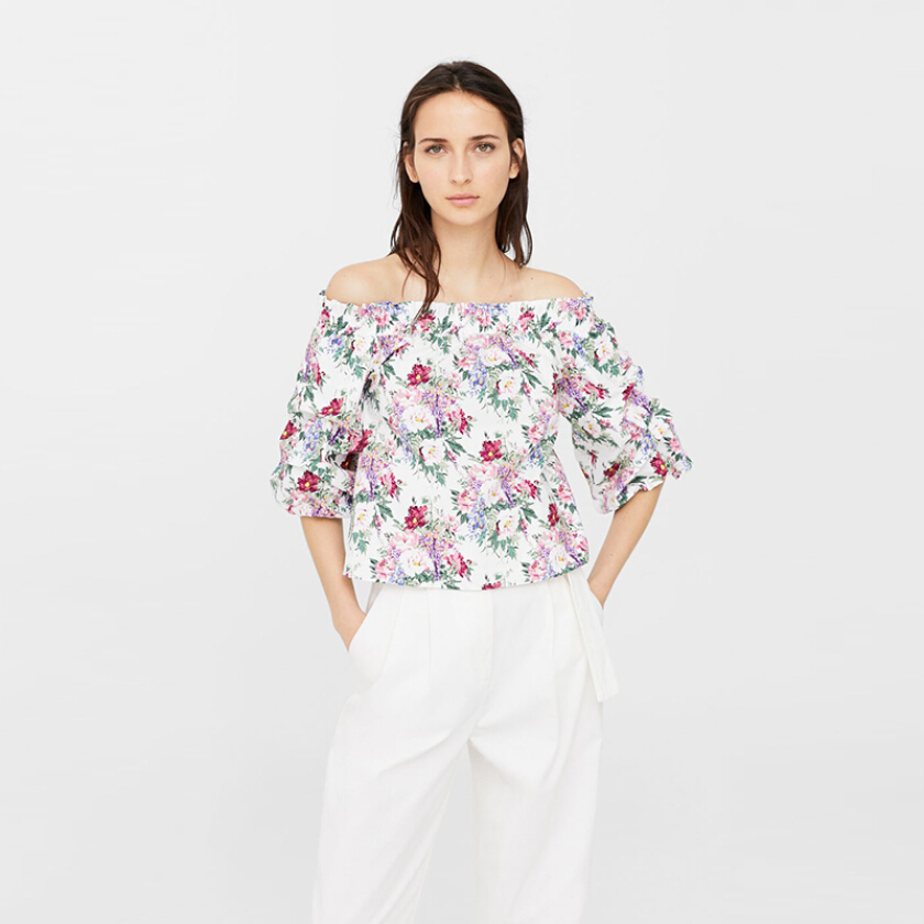 MANGO Floral off Shoulder Blouse - Multi [S]