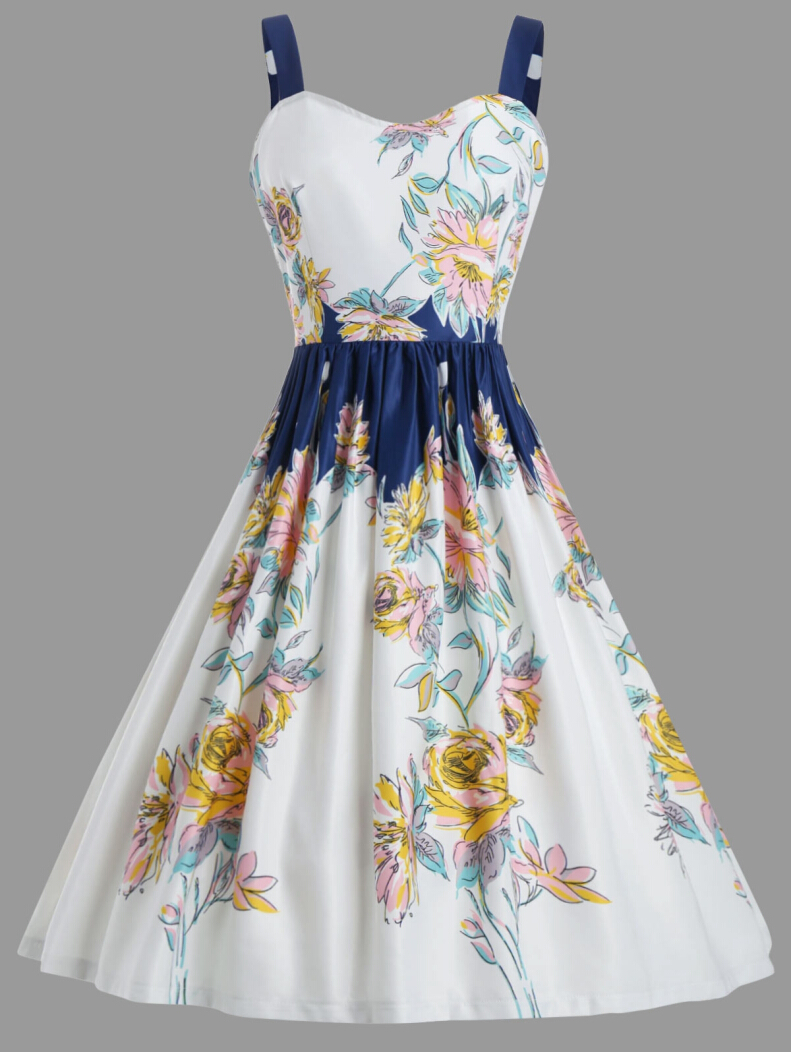 Floral Spaghetic Strap Vintage Party Dress