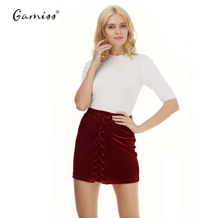 Gamiss Sexy Lace Up Velvet Pencil Skirts 2017