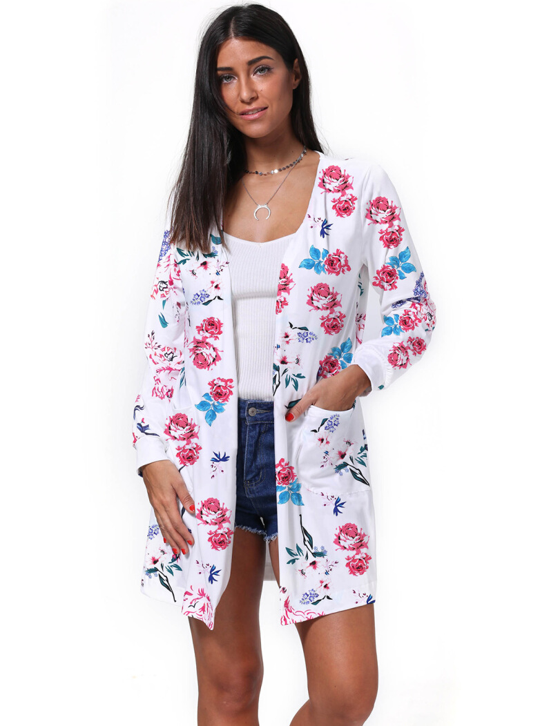 Womens Boho Long Sleeve Floral Print Cardigans Casual Kimono Wrap Coverup Tops Outwear