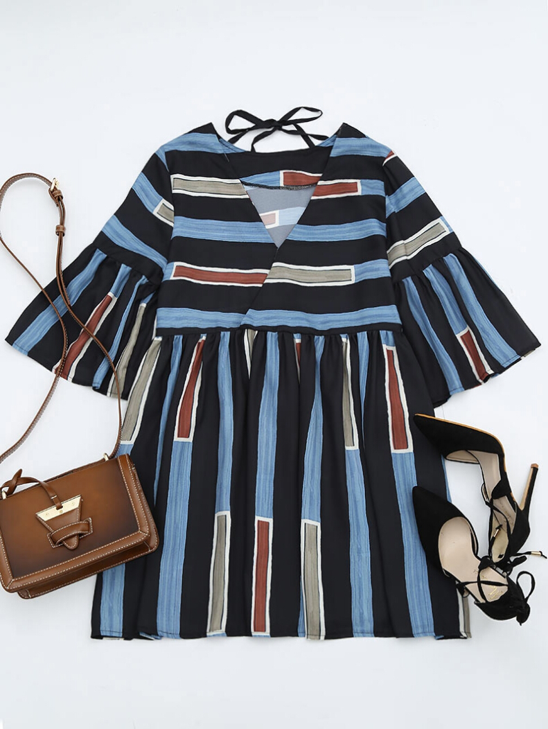 V Neck Striped Bell Sleeve Dress ONE SIZE