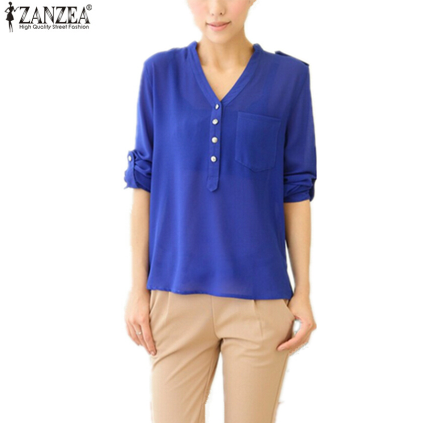 ZANZEA Ladies V-Neck Chiffon Shirt - White[6 size]