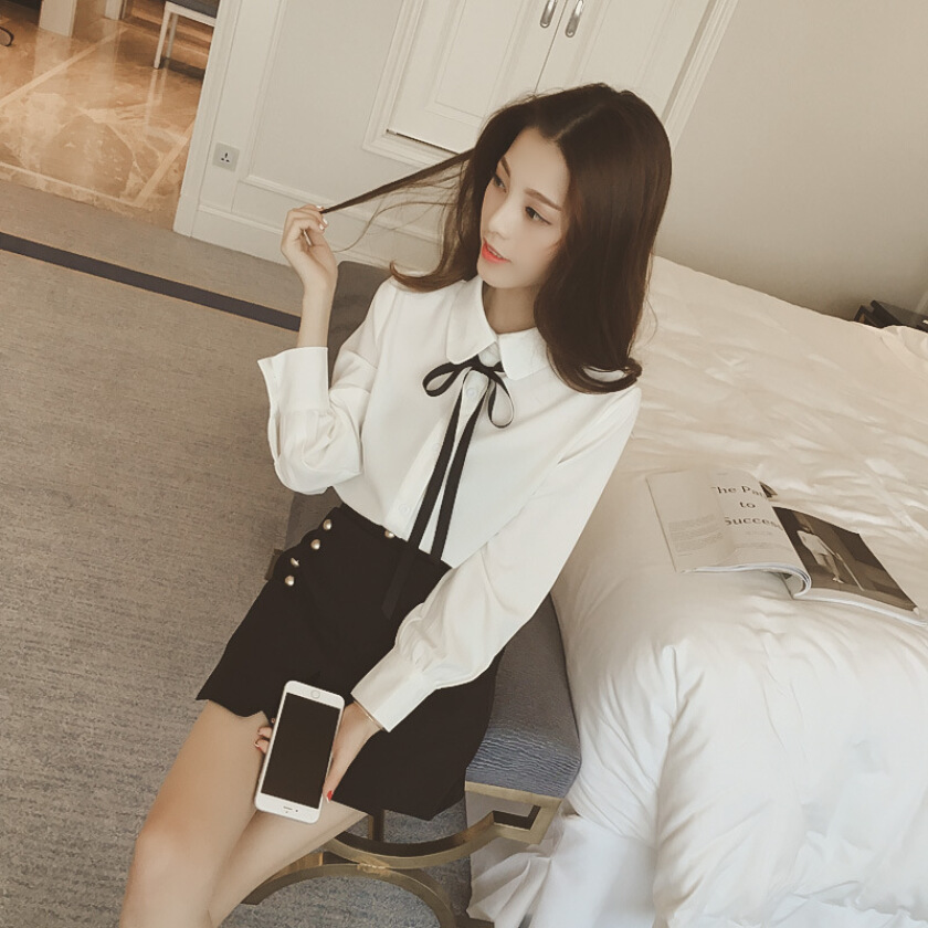 Women autumn base blouse new arrival turn down lapel with lace up bowknot long sleeve sweet all match blouse