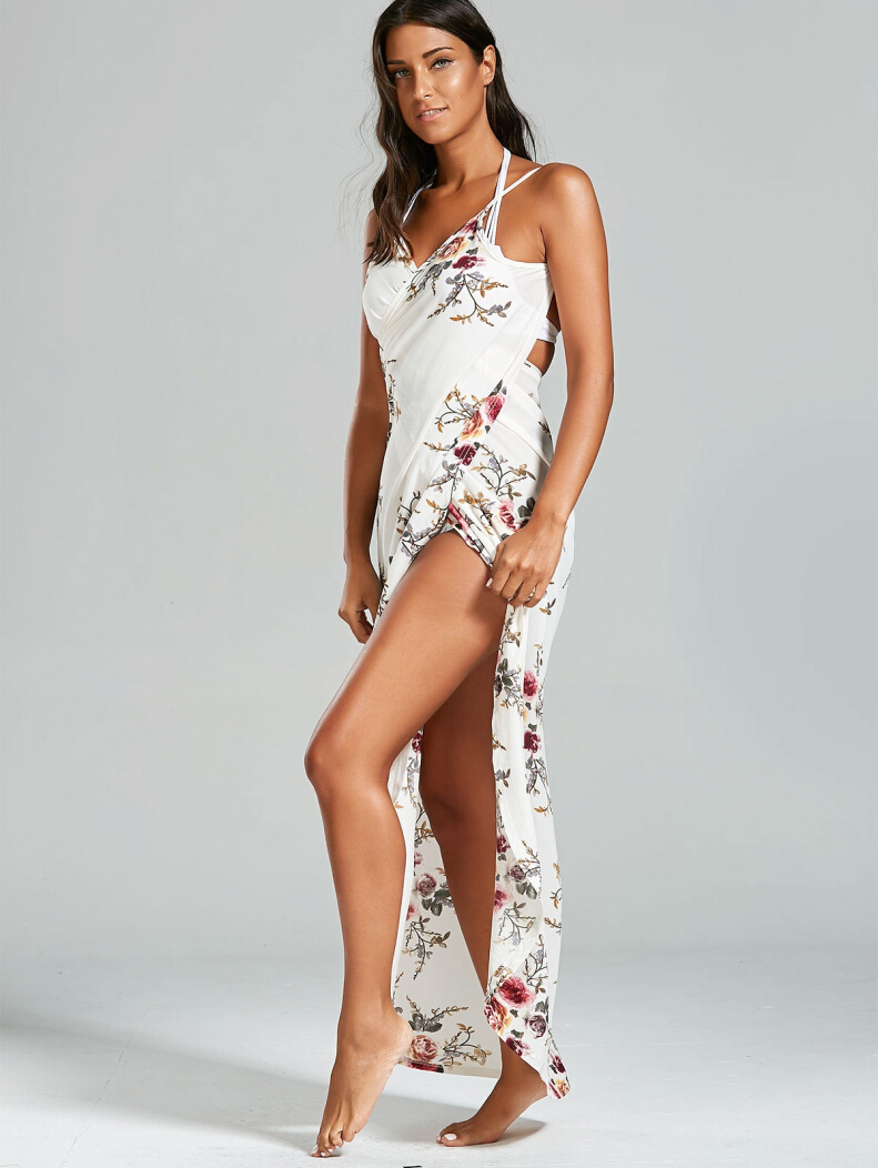 Chiffon Floral Convertible Sarong Wrap Cover Up Dress