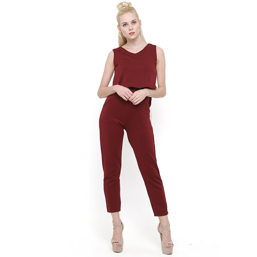 Shop At Banana Red Velvet Tiffany Jumpsuit - Red [One Size]