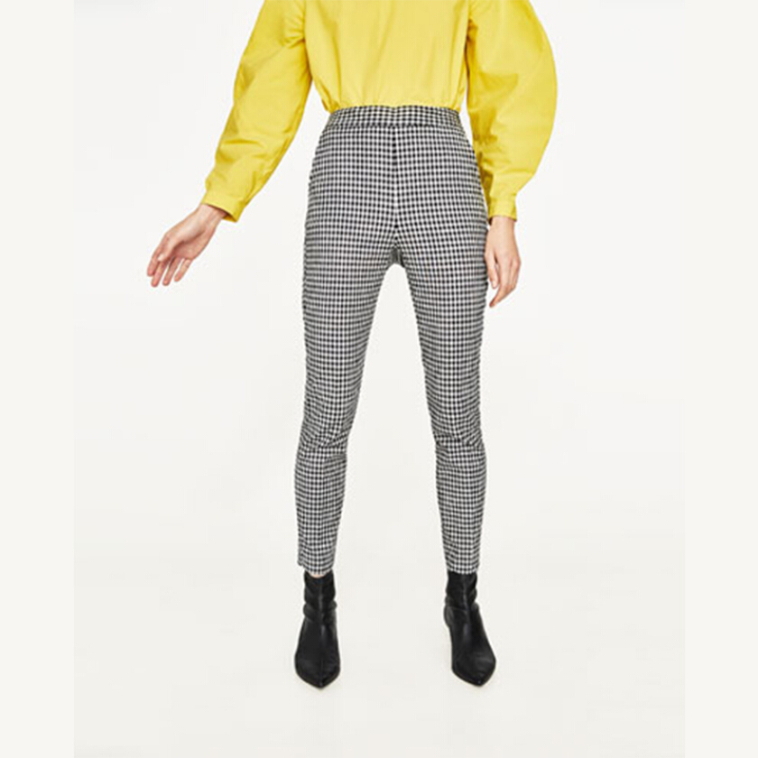 ZARA WOMEN Trousers With Small Checks - Black [M]