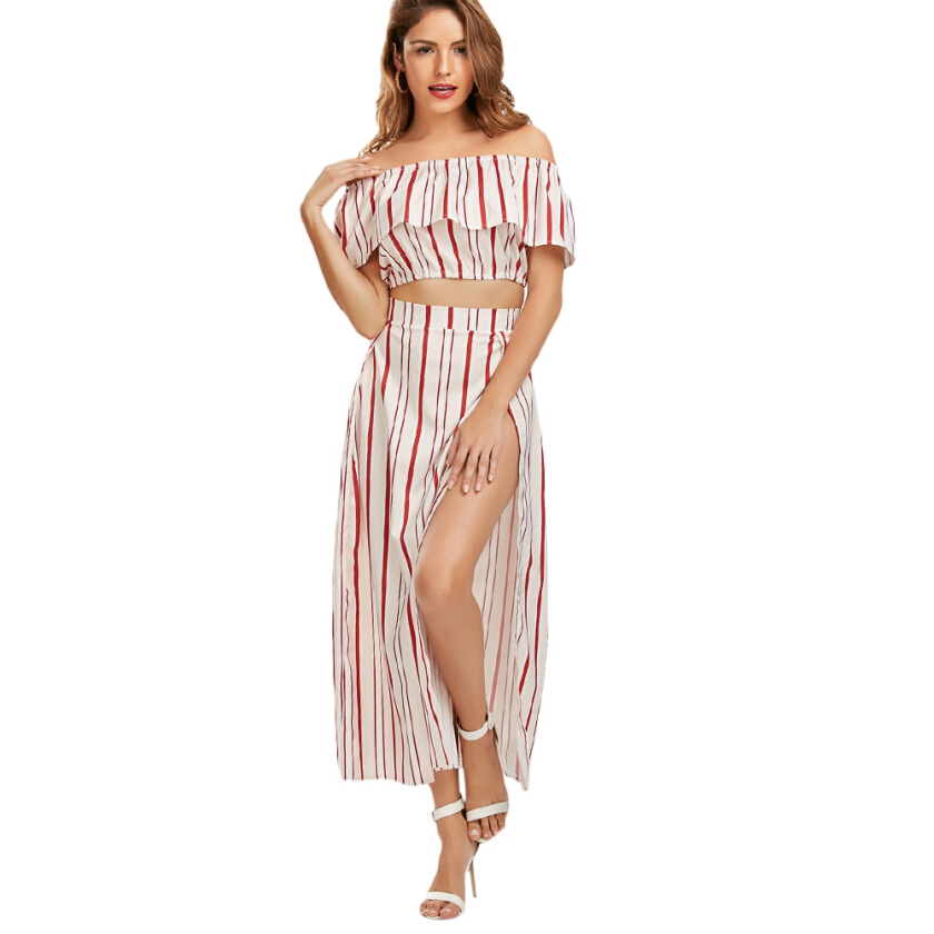 Off Shoulder Striped Three Piece Dress