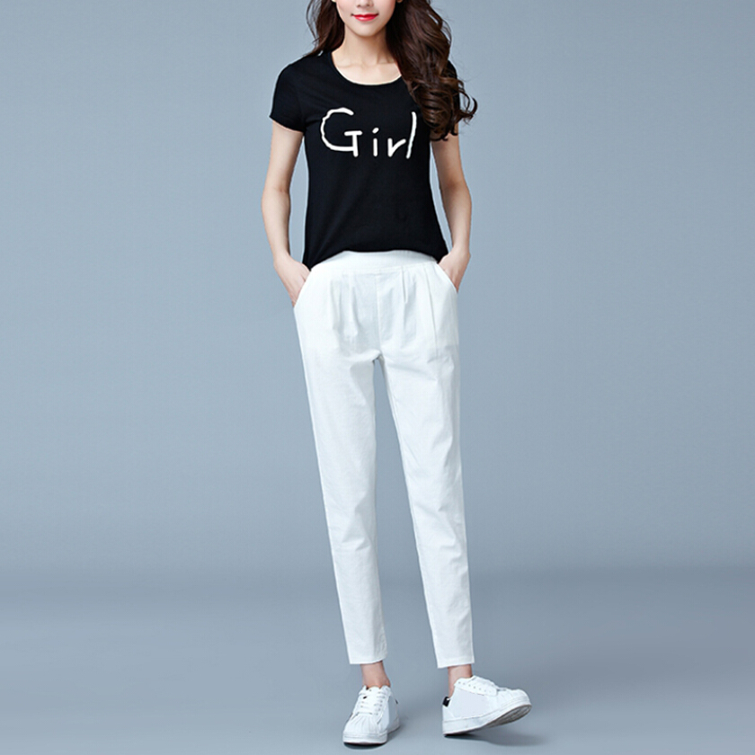 Cotton Nine points pants Loose tight waist, casual feet, Haren pants