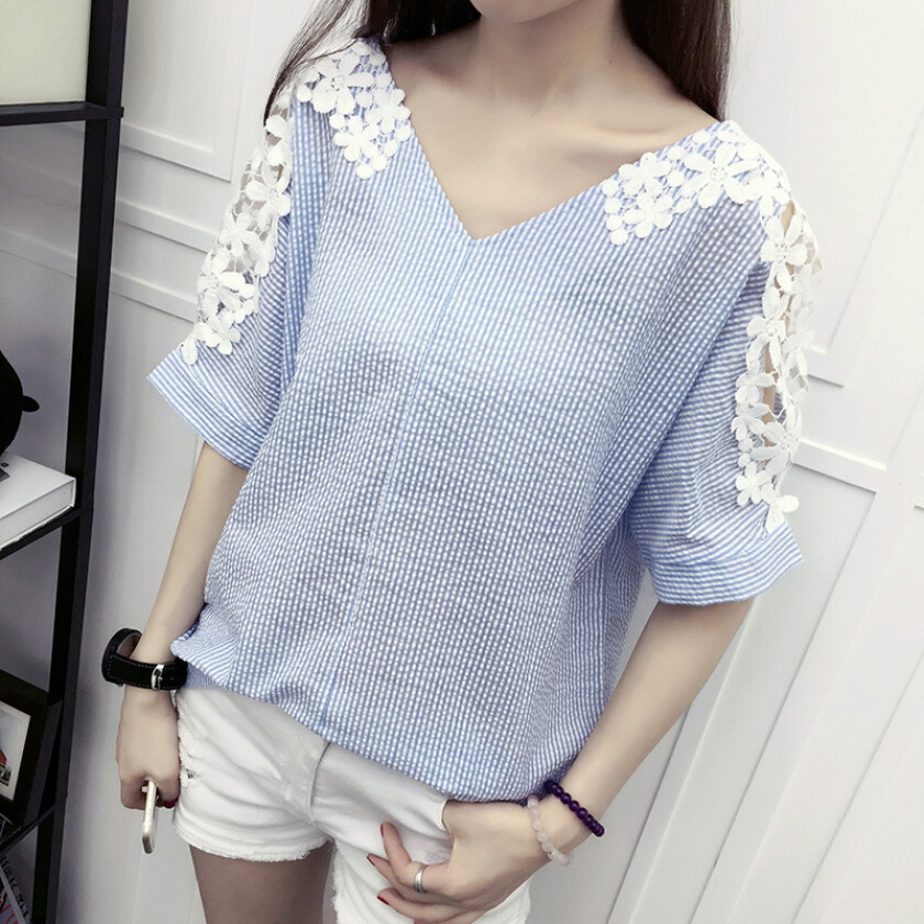 lace patchwork short sleeve backless slim base blouse tops