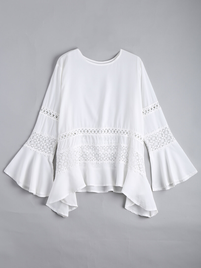 Hollow Out Bell Sleeve Asymmetric Blouse