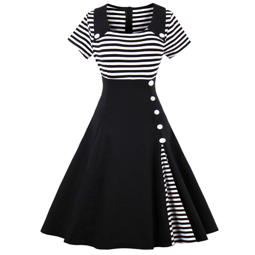 Vintage Striped Buttoned Pin Up Dress